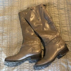 Gray leather riding boots